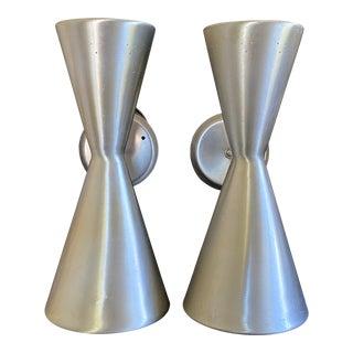 1950s Litecraft Double Cone Spun Aluminum Wall Lights Sconces - a Pair For Sale