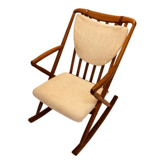 Vintage Benny Linden Teak Rocking Chair Danish Modern