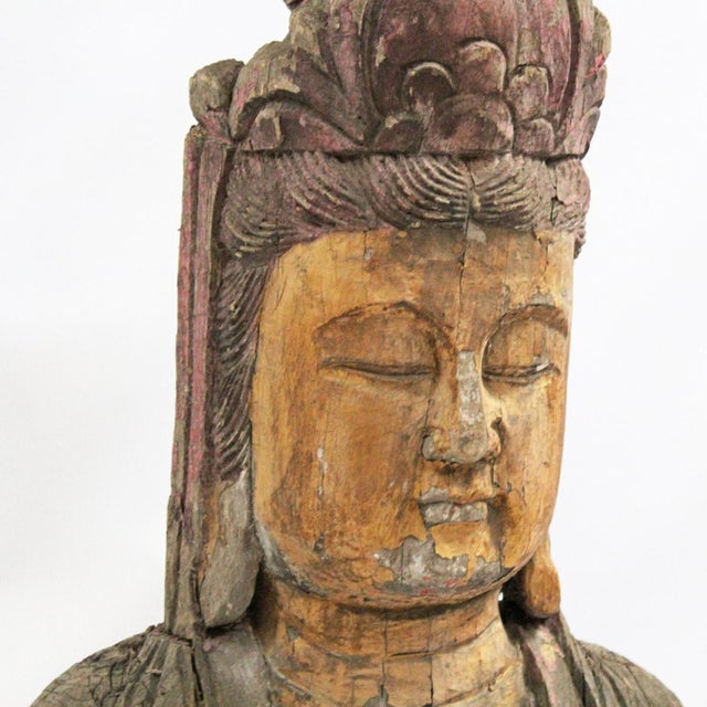 Wood Carved Quan Yin For Sale - Image 4 of 4