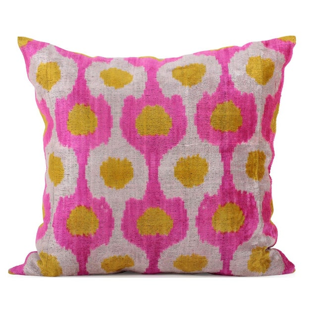 Cream, Pink and Yellow Silk Velvet Accent Pillow - Image 1 of 2