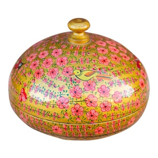 Gilt and Rouge Bulb Kashmiri Box For Sale