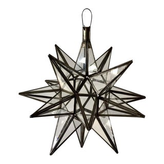 Moroccan Clear Glass and Metal Moravian Star Shape Lantern Pendant For Sale