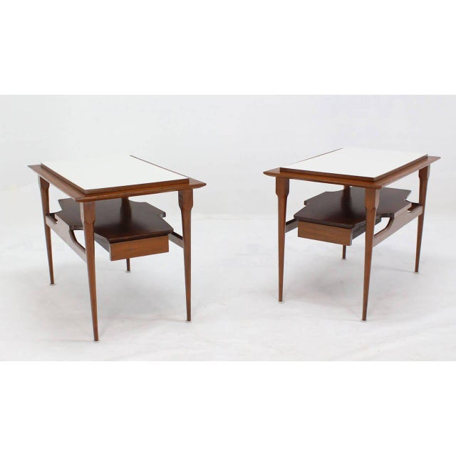 Mid-Century Modern Pair of Mid Century Modern Walnut One Drawer End Tables or Night Stands For Sale - Image 3 of 9