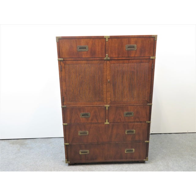 Mid-Century Modern Mid Century Modern Fruitwood Campaign Chest of Drawers For Sale - Image 3 of 9