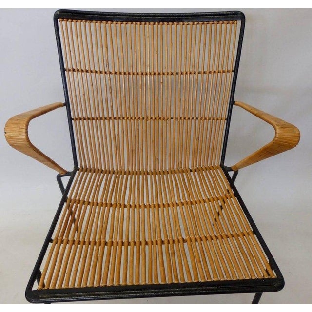 1950s Wrought Iron Frame Franco Albini Style Rattan Chair For Sale - Image 5 of 10