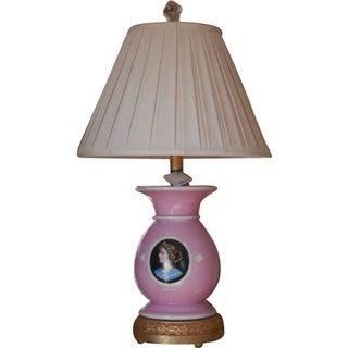 Antique Pink Old Paris Porcelain Vase Now a Designer Lamp For Sale