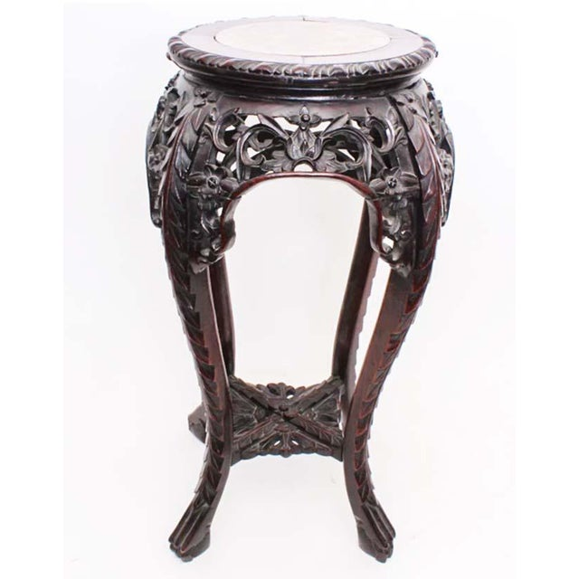Marble Antique Chinese Carved Rosewood Marble Top Stand For Sale - Image 7 of 7