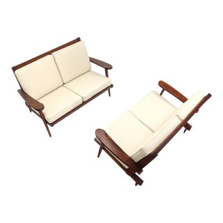 Mid-Century Modern Walnut Settees - a Pair For Sale