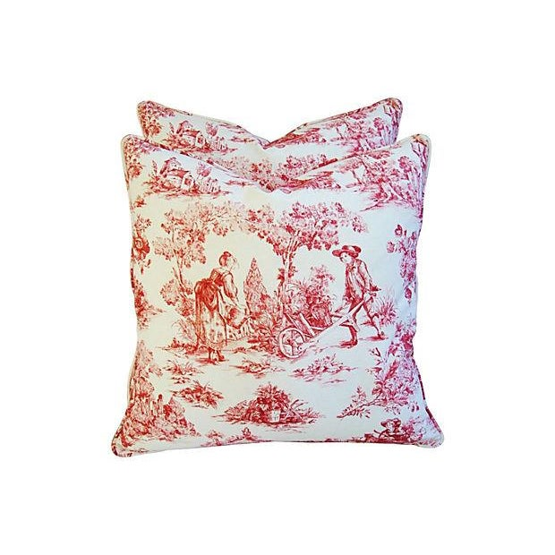French Country Toile Pillows - A Pair - Image 6 of 6