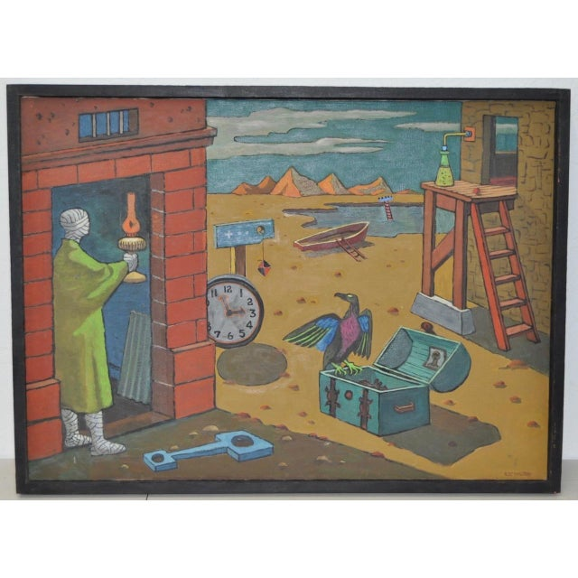 Turquoise 1940s Surreal Painting by R. Sterling For Sale - Image 8 of 8