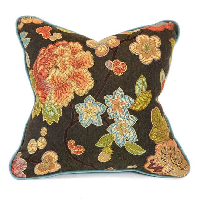Contemporary Cherry Blossom and Aqua Velvet Pillows - Pair For Sale - Image 3 of 6