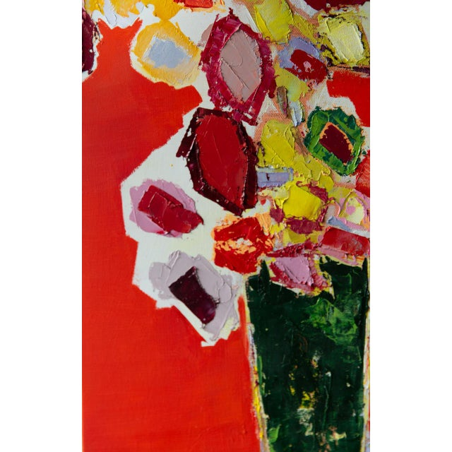 Abstract Floral oil painting on canvas by Bill Tansey