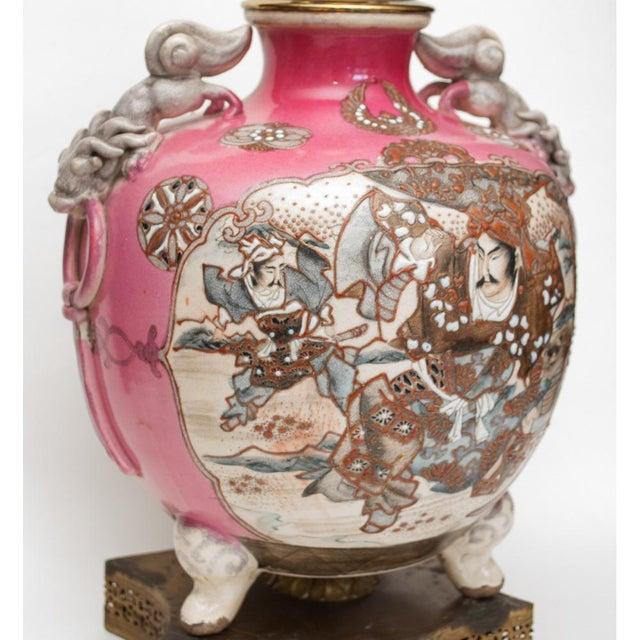Meiji Era Japanese Satsuma Vase as Lamp For Sale - Image 4 of 13