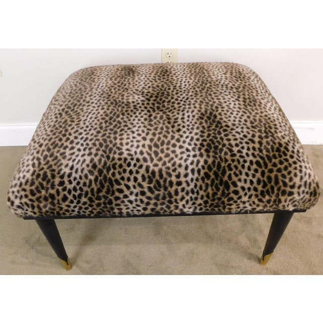 Wood Mid Century Modern Square Cheetah Print Ottoman For Sale - Image 7 of 13