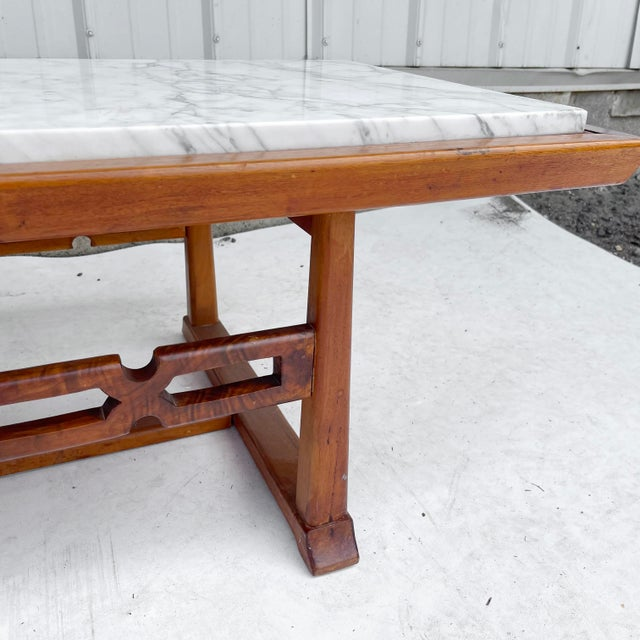 Long Mid-Century Marble Top Coffee Table For Sale In New York - Image 6 of 13