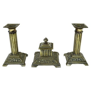1920s English Brass Corinthian Desk Set - 3 Pieces For Sale
