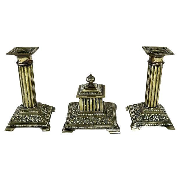 1920s English Brass Corinthian Desk Set - 3 Pieces For Sale