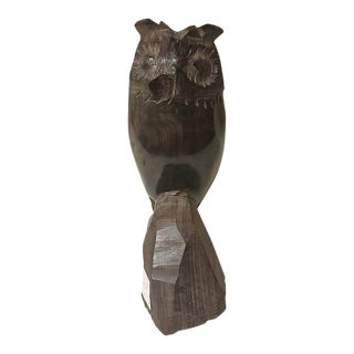 1960s Mid-Century Modern Handcarved Ironwood Owl For Sale