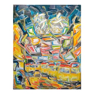 "Large Abstract Painting ""Jardine's Bazaar, Hong Kong"" by Trixie Pitts"