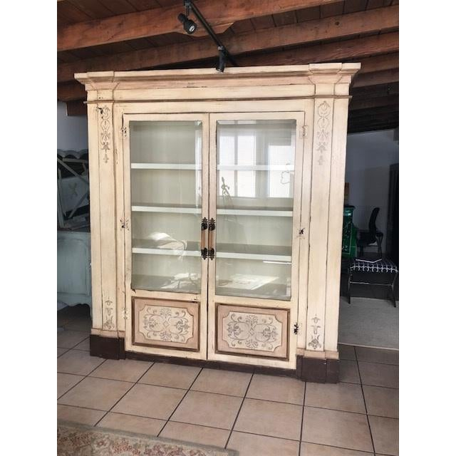 White Gray Stenciled Brazil Baroque Cabinet For Sale - Image 8 of 8