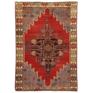 Vintage Turkish Oushak Accent Rug - 3′6″ × 4′11″