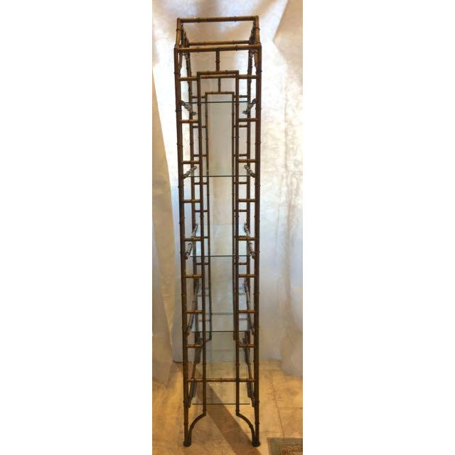 Mid-Century Modern Brass Faux Bamboo Etagere For Sale - Image 4 of 10