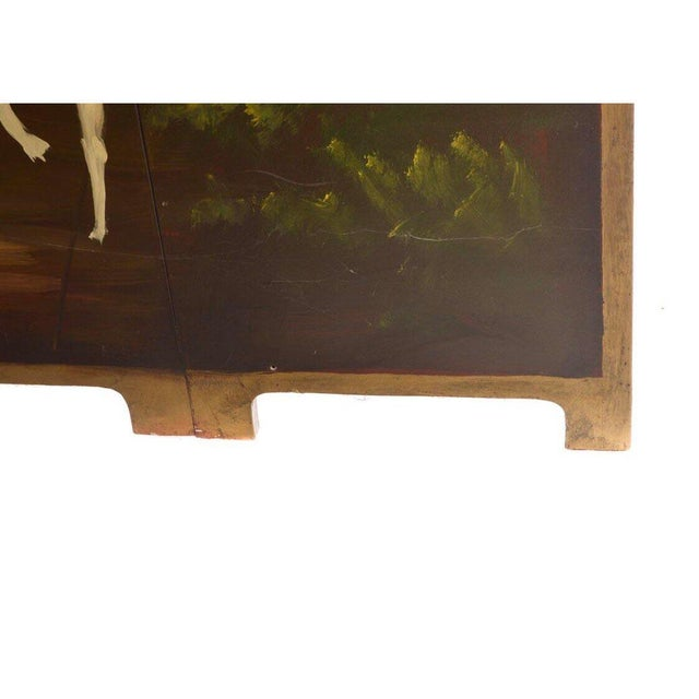 English Traditional Late 20th Century Painted Wood Four-Panel Hunting Scene Room Divider For Sale - Image 3 of 8