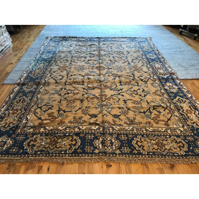 Islamic Antique Blue & Tan Turkish Rug - 8′10″ × 11′7″ For Sale - Image 3 of 12