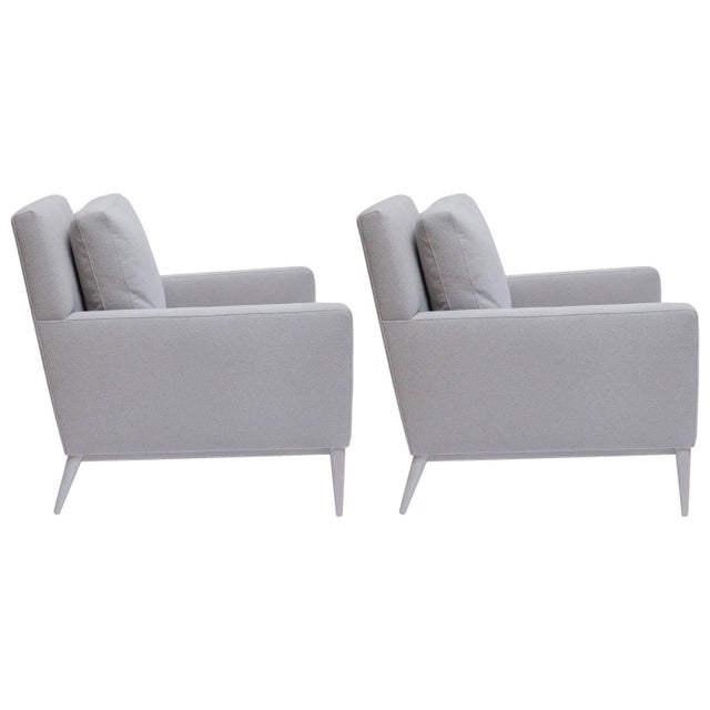 Restored Paul McCobb Bleached Walnut Lounge Chairs for Directional - a Pair For Sale - Image 11 of 11