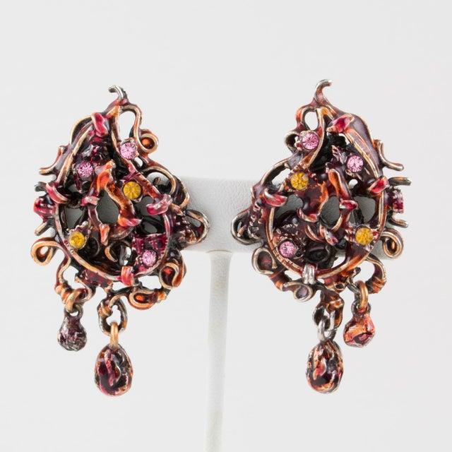 81775150d Enamel Christian Lacroix Paris Signed Red Enamel & Silvered Metal Dangle  Clip Earrings For Sale -