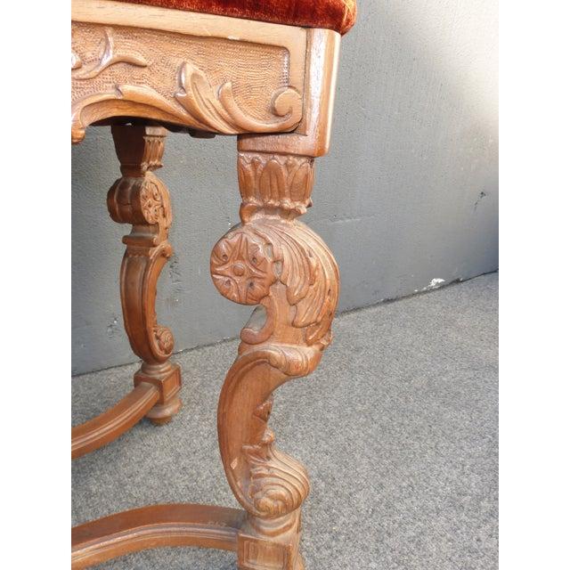 Antique Ornate Carved Orange Velvet Bench - Image 9 of 10
