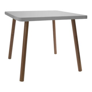 "Tippy Toe Small Square 23.5"" Kids Table in Walnut With Gray Finish Accent For Sale"