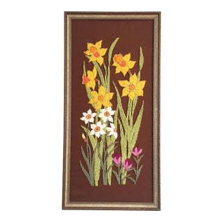 Vintage Daffodil Needlepoint Embroidery For Sale