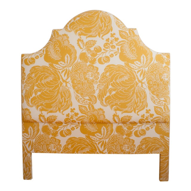 Yellow & White Floral Headboard For Sale