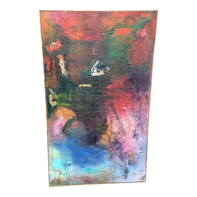 1980s Vintage Abstract Mixed Media Impasto by Louis Papp For Sale