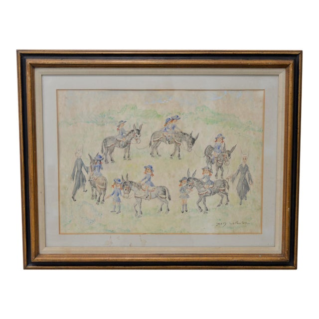 "Jean Lareuse ""School Girls on a Donkey Ride"" Original Watercolor C.1950 For Sale"