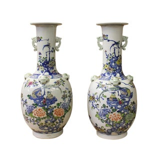 Chinese Off White Porcelain Flower Birds Dragon Foo Dogs Accent Vases - a Pair For Sale
