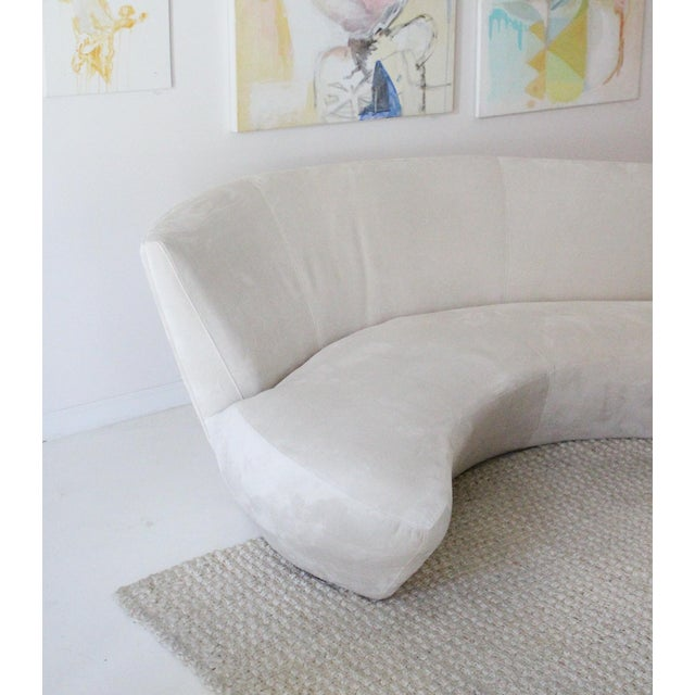 White 1990s Vintage Kagan Style Velvet Sofa For Sale - Image 8 of 9