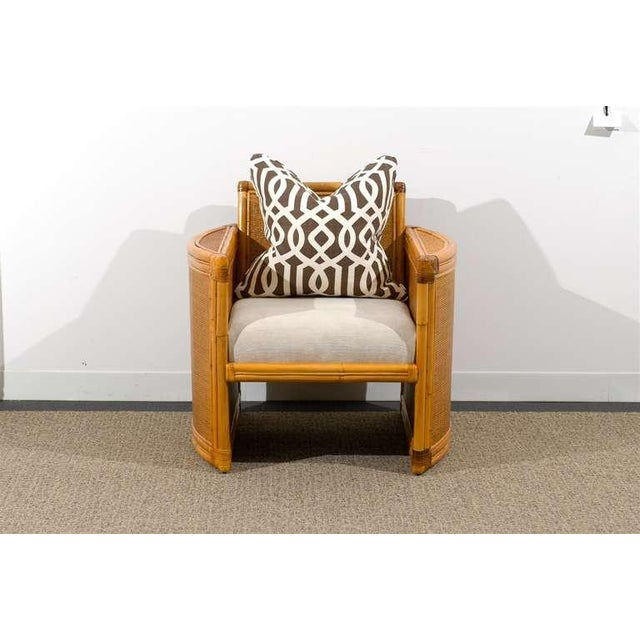 Wood Unusual Pair of Bamboo and Raffia Lounge/Club Chairs For Sale - Image 7 of 8