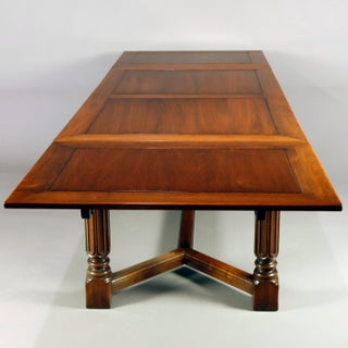 Vintage Carved Gothic Style Draw-Top Trestle Table by Kittinger, 20th Century Preview
