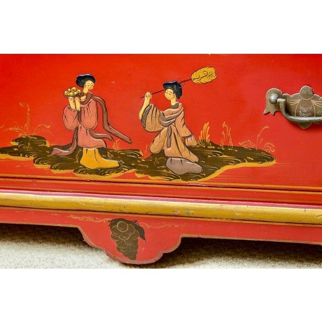 Chinoiserie Red Lacquer Chest of Drawers For Sale - Image 9 of 13