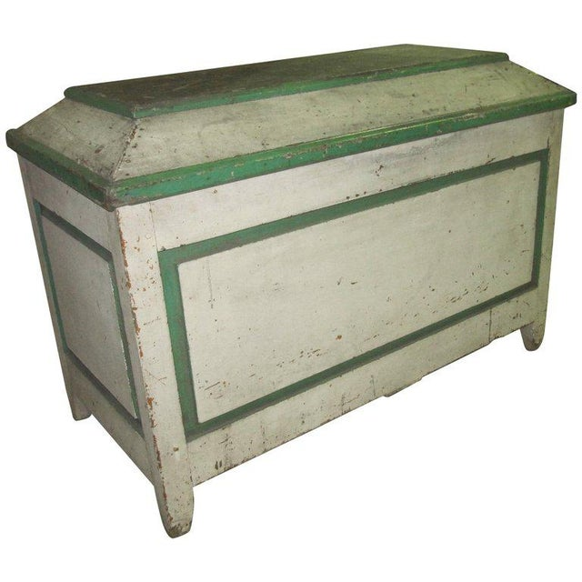Handsome American Primative Blanket Chest With Wonderful Worn Painted Finish For Sale In South Bend - Image 6 of 6