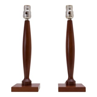 Sleek Midcentury Modern Wood Lamps in the Style of Laurel Lamp Co, a Pair For Sale