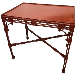 1920s Chinese Chippendale Tea Table in Cinnabar Red For Sale