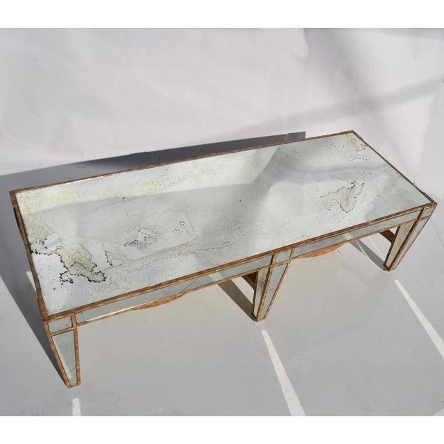 Hollywood Regency Hollywood Regency Coffee Table in Antiqued Mirror For Sale - Image 3 of 6