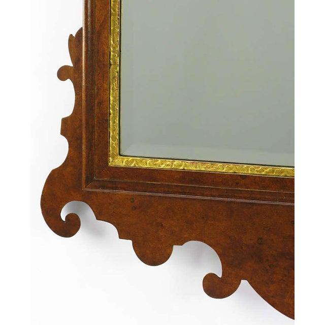Williamsburg Restoration Inc. Chippendale Mirror in Burled Walnut with Gilt Plume Surmounter by Williamsburg Restorations Inc. For Sale - Image 4 of 8