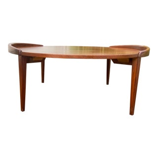 Vintage Jens Risom Style Round Walnut Coffee Table For Sale