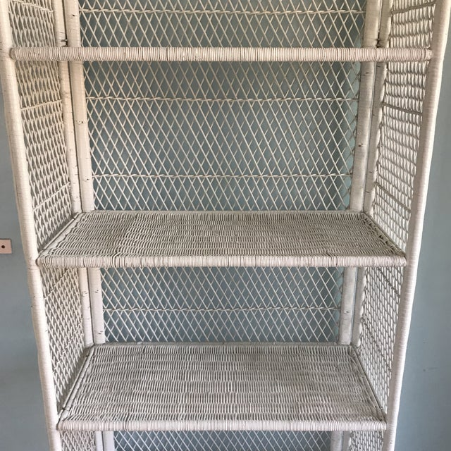 Children's 1970s Shabby Chic Victorian White Wicker 5-Shelf Wall Unit For Sale - Image 3 of 13