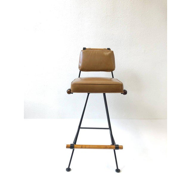 Set of Three Swivel Barstools For Sale - Image 4 of 10
