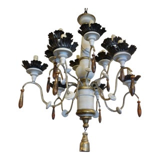 19th Century Italian Wood and Iron Chandelier For Sale